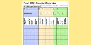 GCSE Français Carte photo Feuille d'enregistrement pour étudiants - french, GCSE, Photo Card, Record Log, Student