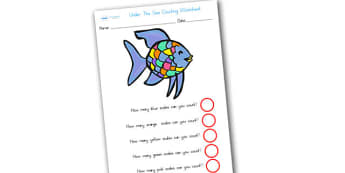 Themed Scales Counting Worksheet to Support Teaching on Rainbow Fish - rainbow fish