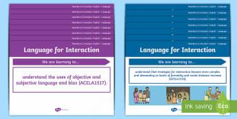 Language Content Descriptions: Language for Interaction Display Posters - Australian Curriculum English Content Descriptions Display Posters, Content Descriptors, Language fo