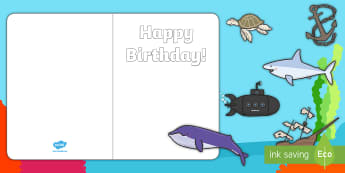 Design Your Own under the Sea Birthday Cards - cut and stick, DT, Fine Motor Skills, EYFS, KS1, Greetings Cards