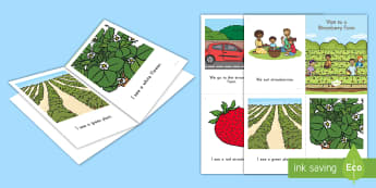 Visit to a Strawberry Farm Emergent Reader - strawberries, strawberry plants, strawberry farming, strawberry picking, strawberry plant life cycle