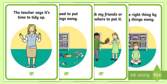 Tidy Up Time Social Situation Posters - tidy up time, social story, posters, display, social, story