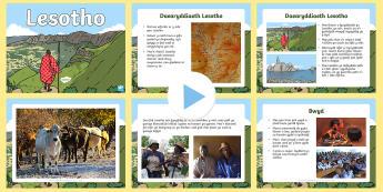 Pŵerbwynt Gwybodaeth am Lesotho  - daearyddiaeth, Lesotho, Affrica, gwlad, mynydd, economi, arfordir, De Affrica, Cymraeg, gwybodaeth,