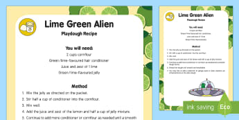 Lime Green Alien Playdough Recipe - Aliens Love Underpants, Claire Freedman, space, green playdough, lime, sensory play, messy play