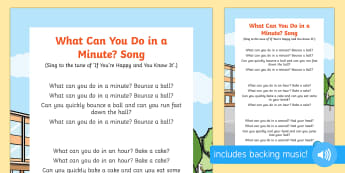 What Can You Do in a Minute Song - minute, hour, second, hands, clock, watch, singing time, action songs