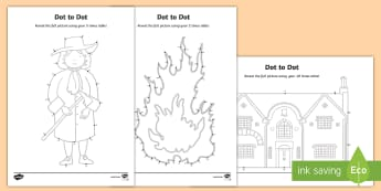 Year 2 The Great Fire of London Dot to Dot 2, 5 and 10 Activity Sheet - The Great Fire of London, fire, samuel pepys, pudding lane, london's burning, history, year 2, y2,