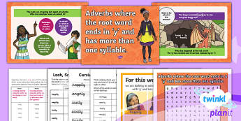 PlanIt Y3 Term 1B W2: 'ly' Adverbs (root words ending in 'y' with more than one syllable) Spelling Pack