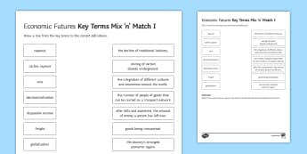 Economic Futures Mix and Match 1 Activity Sheet - ks4, gcse, glossary, key, terms, development