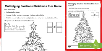 Multiplying Fractions Christmas Dice Game - Numerator, Denominator, Multiplication, apply, consolidate, revise, reasoning, play, challenge, mast