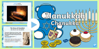 All about Hanukkah PowerPoint English/Afrikaans - religion, celebrate, festival, traditions, candle, food, EAL