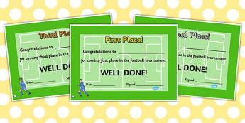 Football Tournament Certificates - certificate, rewards, reward