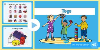 Spielsachen: Englischer Wortschatz mit Hörbeispielen PowerPoint Präsentation - Spielzeug, spielen, Vokabular, Aussprache, hören, Englisch
