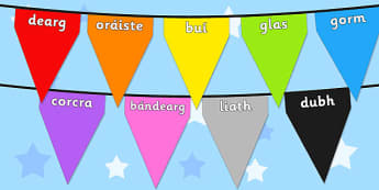 Colours on Bunting Gaeilge - colours, art, rainbow, bunting, irish, roi, ireland, display
