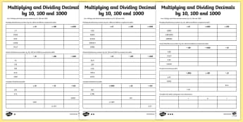 Year 6 Multiplying and Dividing Decimals by 10 100 and 1000 Activity Sheet - maths, ks2, upper key stage 2, sats, , worksheet