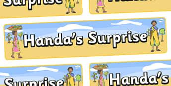 Handa's Surprise Display Banner  (Simple) - Handa's Surprise, Eileen Browne, resources, Handa, Akeyo, mango, guava, Africa, avacado, passion fruit, monkey, African animals, story, story book, story book resources, story sequencing, story resources, d