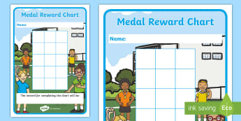 Medal Themed Reward Chart Sticker Reward Charts -  Medal Themed Reward Chart Sticker, reward, rewrd, charts, chart, award, well done, reward, medal, r