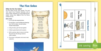 KS2 Lutheran Reformation 500th Anniversary Activity Sheet - Martin Luther,worksheet, reformation, Protestant, church, Roman Catholic, 95 Theses, Five Solas, cel