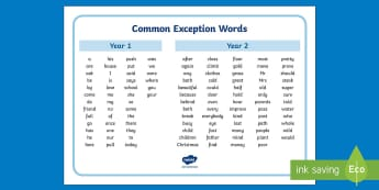 Common Exception Words Years 1 and 2 Alphabetical Word Mat - school, high frequency words, first 100, first 200,