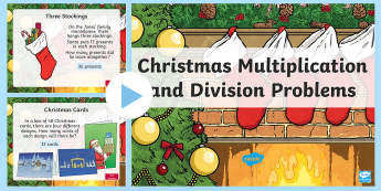 Christmas Multiplication and Division PowerPoint - maths, mathematics, numeracy, PowerPoint, problem solving, multiplication, times, division, sharing,