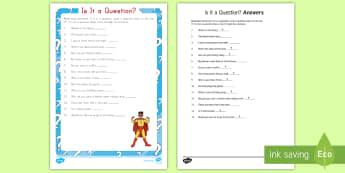 Is It a Question? Activity Sheet -  Punctuation, Question Mark, English, Sentences, Statement, worksheet, grammar, sentence structure,