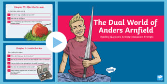 The Dual World of Anders Arnfield Reading Questions and Discussion Prompts PowerPoint - fiction, originals, adventure, guided reading, questions, discussion