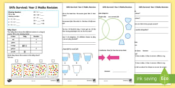 SATs Survival Year 2 Maths Revision Activity Sheets - SATs Survival Materials Year 2, SATs, assessment, 2017, maths, number, numeracy, worksheet, arithmet