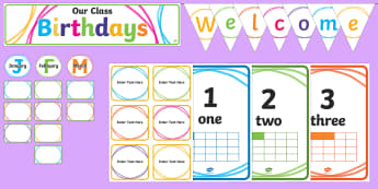 Class Set up Crayon Theme Display Pack - New Zealand Back to School, classroom diplay, display, peg labels, drawer labels