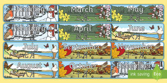 Months of the Year With Seasons Theme Display Posters English/Mandarin Chinese - Months of the Year With Seasons Theme Display Posters - months, year, display, months of the yeareng