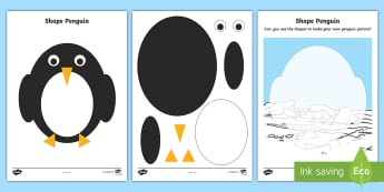 Shape Penguin Activity Sheets - EYFS, KS1, penguin, Lost and Found, Oliver Jeffers, polar regions, South Pole, Antarctic, Penguin Sm