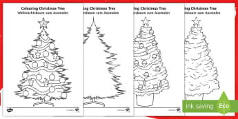 Christmas Tree Colouring Pages - English/German - EAL, german, Christmas Tree Template -  Christmas, xmas, tree, colouring, santa, advent, nativity, f