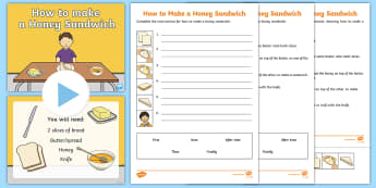 How to Make A Honey Sandwich Resource Pack - How to Make A Sandwich Instructions - sandwich, instruction, connectives, conjunctions, write, read,