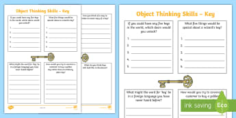 Object Thinking Skills: Key Activity Sheet - Creative Thinking, Critical Thinking, Lateral Thinking, Outside The Box, Imagination, worksheet