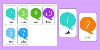 Numbers 1-10 Flash Cards Te Reo Māori - nz, new zealand, numbers, 1-10, flash cards, te reo māori