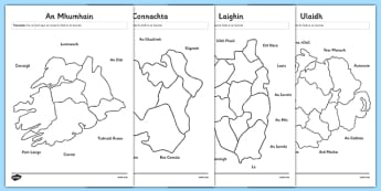 Irish Provinces and Counties of Ireland Matching Worksheet / Activity Sheets Gaeilge - Ireland, Reuplic, Gaeilge, provinces, geography, ROI, Irish, worksheet