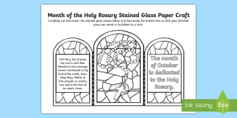 Month of the Holy Rosary Stained Glass Paper Craft - Mary, Rosary, month of the rosary, Our Lady, Prayers,
