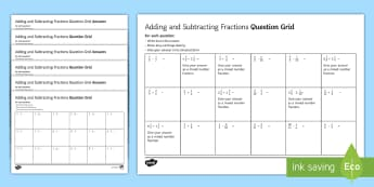 Adding and Subtracting Fractions Question Grids Differentiated Activity Sheets - Addition, Subtraction, Numerator, Denominator, Simplify, Simplest, Mixed Number Improper, Four Opera