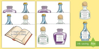 KS2 Magic Potion Ingredients to Make a Story Display Cut-Outs - writing expectations, story writing, features of a story, planning, independent writing aid