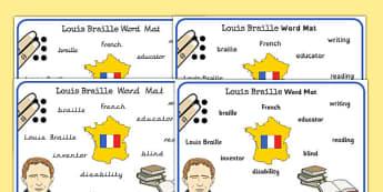 Louis Braille Word Mat - louis braille, word, mat, braille, blind