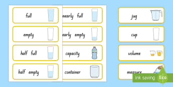 Capacity Word Cards - word cards, new zealand, capacity, measurement, Years 1-3, maths, vocabulary