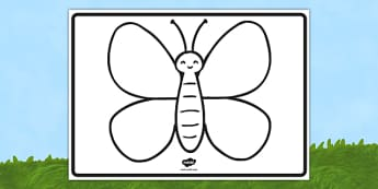 Large Butterfly Outline - EYFS, Early Years, minibeasts, butterfly, outline