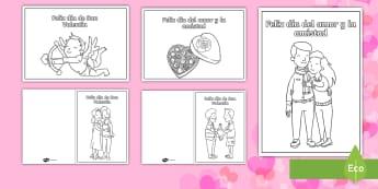 Tarjetas para colorear: Día de San Valentin / Día del amor y la amistad - Día de San Valentín, 14 de febrero, día del amor y  la amistad, amor, tarjetas para colorear, amo