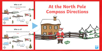 KS1 North Pole Christmas Directions PowerPoint - Compass Point PowerPoint, Christmas, Nativity, Jesus, xmas, Xmas , north, east, south, west, instructions, KS1, direction, pos