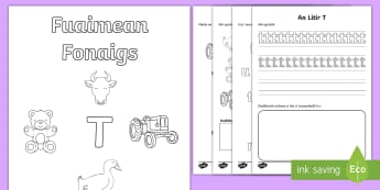 Fuaimean Fonaigs T Duilleagan-Obrach  - Cfe, Early Level, First Level, Letters, Sounds, Phonics, Gaelic Sounds, Gaelic Alphabet,Scottish