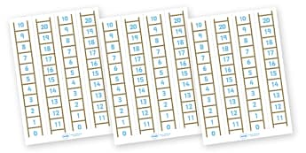 Number Ladder (0-20) - Maths, Math, number ladder, numbertrack, numberline, counting, Number line, Counting on, Counting back