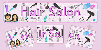 Hairdressers Role Play Display Banner Alt - Hairdresser Role Play, banner, salon role play, hairdresser resources, salon resources, hairdryer, hairdresser, stylist, customer, hairstyle, role play, display, poster