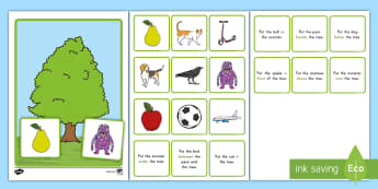 Prepositional Tree Game - Prepositions, Education Game, Center Activity, ELA, Kindergarten, Common Core