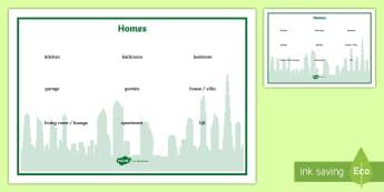Homes Word Mat - UAE, ADEC, MOE, speaking, listening, talking, talk, homes, houses