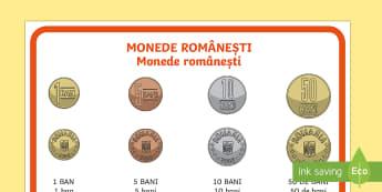 Monede românești - Planșă - bani, unități de măsură, valoare, matematică, bani, unități de măsură pentru bani, monedele - bani, unități de măsură, valoare, matematică, bani, unități de măsură pentru bani, monedele