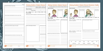 History Hackers: Roman Rescue Character Profile Differentiated Activity Sheet - Worksheet, Quotes, Description, Retrieval, Tilda Hacker, Charlie Hacker, Inference, Author