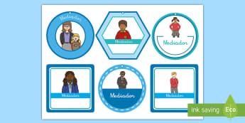 Collares: Mediador - collares, mediador, debate, manejo de la clase, etiquetas, NEE, ayuda visual, ayudar, mediar, collar